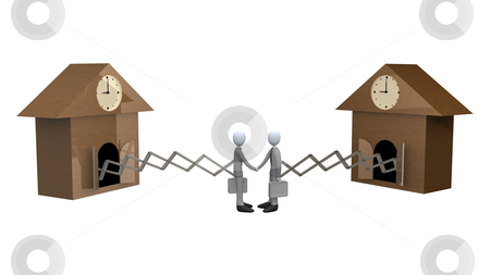 Cuckoo Clock Deal stock photo, Business people coming out of cuckoo clocks shaking hands. by Konstantinos Kokkinis