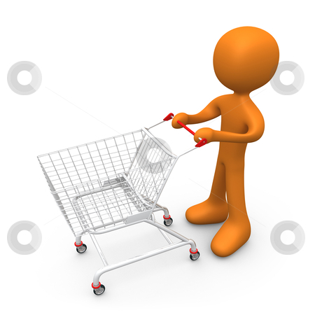 Let's go shopping stock photo, Person with a shopping cart. by Konstantinos Kokkinis