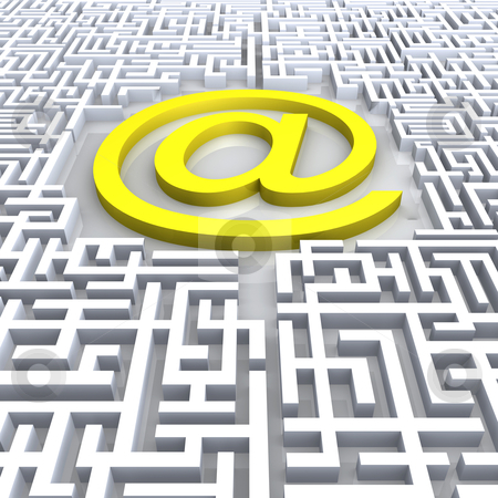 E-maze stock photo, A maze with the @ symbol in the center. by Konstantinos Kokkinis