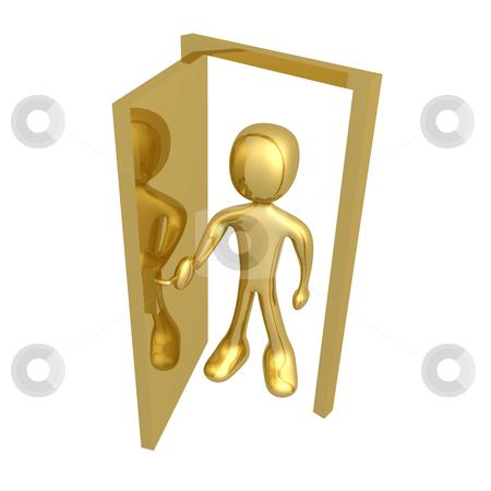 Open the door stock photo, 3d character open a door. by Konstantinos Kokkinis