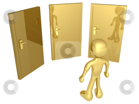 Options stock photo, 3d person in front of three doors. by Konstantinos Kokkinis