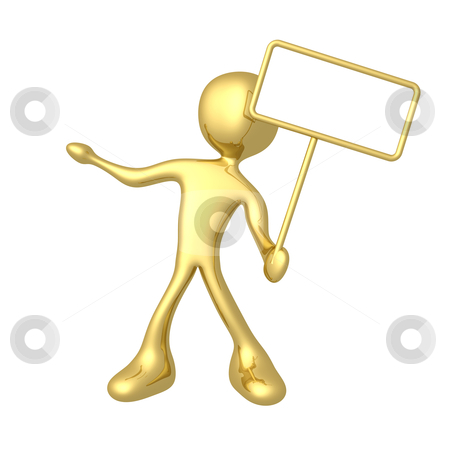 Empty Sign stock photo, 3d person holding an empty sign. by Konstantinos Kokkinis