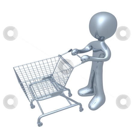 Shopping Cart stock photo, 3d person with a shopping cart. by Konstantinos Kokkinis