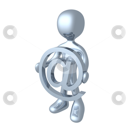 At Symbol. stock photo, 3d character holding an at symbol. by Konstantinos Kokkinis