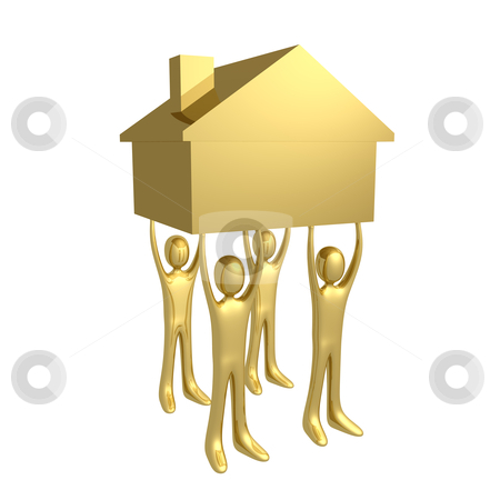 Holding A House stock photo, Four 3d people holding a house. by Konstantinos Kokkinis