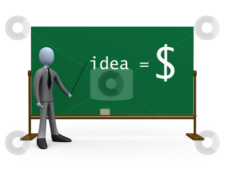 Idea equals money stock photo, 3d person in front of a blackboard. (Writing can be replaced with whatever you like). by Konstantinos Kokkinis