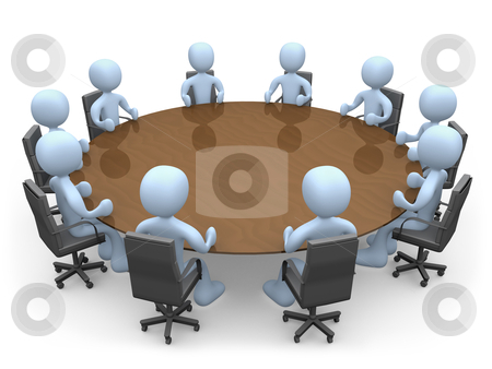 Meeting stock photo, 3d people in a round table having a meeting. by Konstantinos Kokkinis