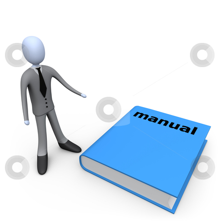 Big Manual stock photo, 3d person standing next to a big manual. by Konstantinos Kokkinis