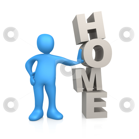 """Home stock photo, 3d person standing next to the word """"home"""". by Konstantinos Kokkinis"""