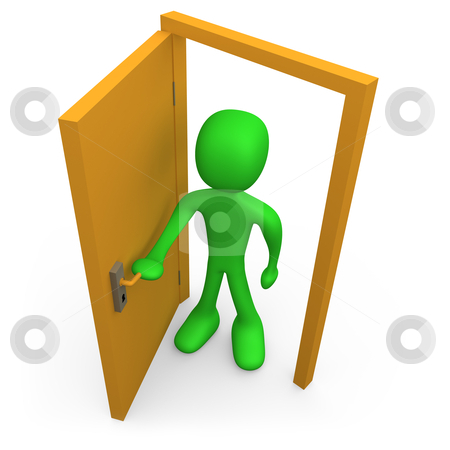 Open The Door stock photo, 3d person in front of an open door. by Konstantinos Kokkinis