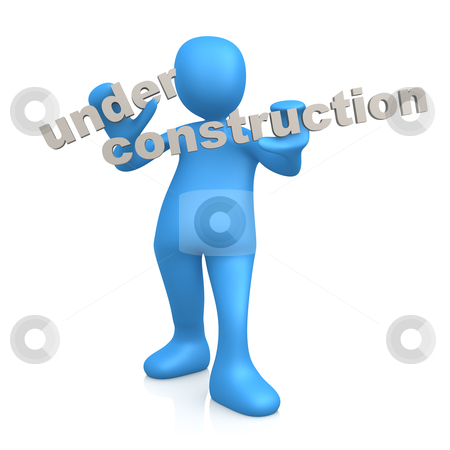 """Under Construction stock photo, 3d person holding the text """"Under Construction"""". by Konstantinos Kokkinis"""