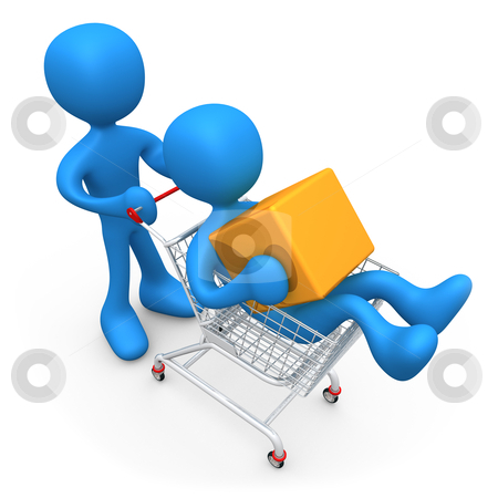 Shopping Together stock photo, Two 3d people shopping together. by Konstantinos Kokkinis