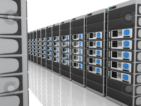3D Servers stock photo, Room full with computer generated 3d servers. by Konstantinos Kokkinis