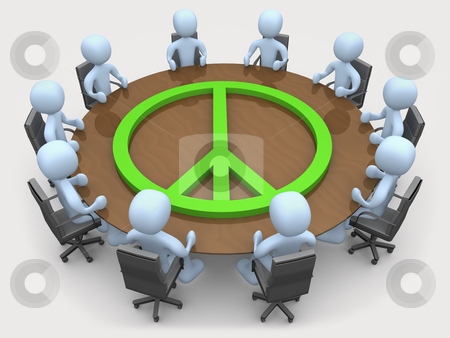Peace Meeting stock photo, Meeting room with the symbol of peace on it. by Konstantinos Kokkinis