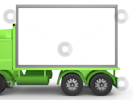 Billboard on Truck stock photo, Computer generated truck carrying an empty billboard. Add what you like. by Konstantinos Kokkinis