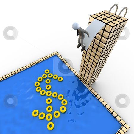 Dive in Success stock photo, Metaphor of a business person about to dive in a pool containing tube that shape a dollar. by Konstantinos Kokkinis