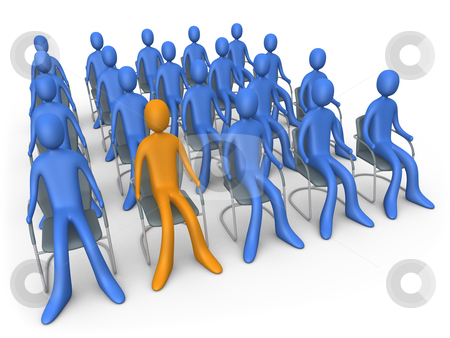 Sitting Out Of The Crowd stock photo, Group of people sitting in chairs. Metaphor of difference. Standing out of the crowd. by Konstantinos Kokkinis