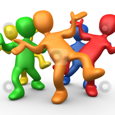 Partying stock photo, Group of 3d people dancing together. by Konstantinos Kokkinis