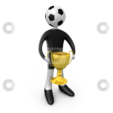 Football player holding the cup stock photo, Computer generated image - Football player holding the cup. by Konstantinos Kokkinis