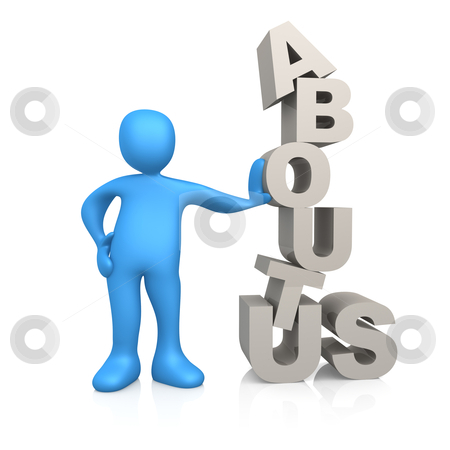 """About Us stock photo, 3d person standing next to the words """"about us"""". by Konstantinos Kokkinis"""