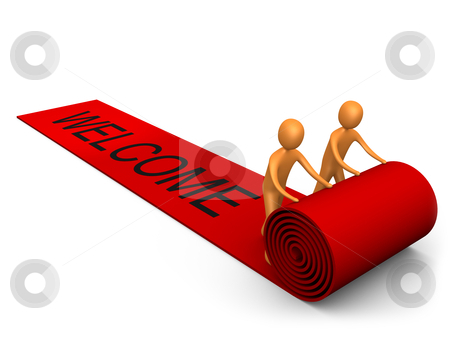 "Welcome Success stock photo, 3d people unrolling a red carpet with the word ""welcome"" on it. by Konstantinos Kokkinis"