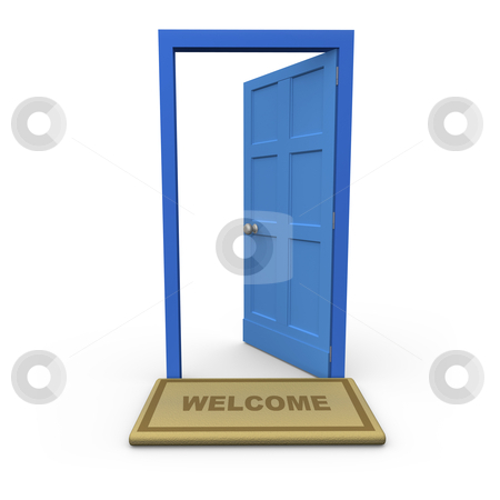 Welcome stock photo, Isolated open door with a welcome mat. by Konstantinos Kokkinis