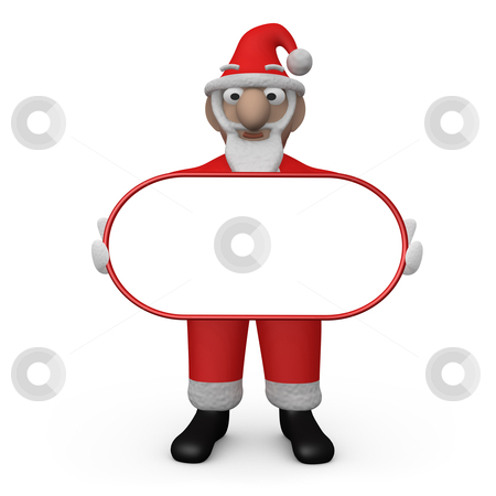 Santa with Empty Sign stock photo, Santa - Claus Holding An Empty Sign . by Konstantinos Kokkinis