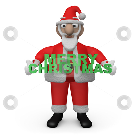 "Merry Christmas Santa stock photo, Santa - Claus Holding a ""merry christmas"" sign. by Konstantinos Kokkinis"
