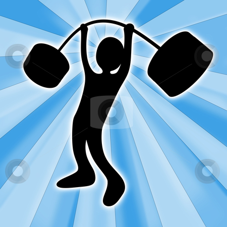 Weightlifter stock photo, Computer generated image - Weightlifter with abstract background. by Konstantinos Kokkinis