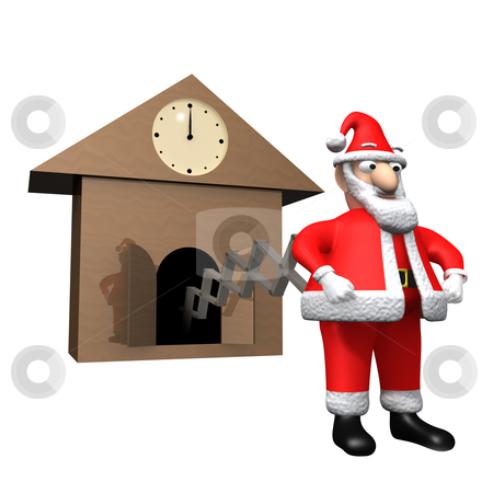 Time for Christmas stock photo, A cuckoo clock with Santa Claus coming out of it. by Konstantinos Kokkinis