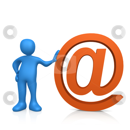 "Email stock photo, 3d person standing next to the ""@"" symbol . by Konstantinos Kokkinis"