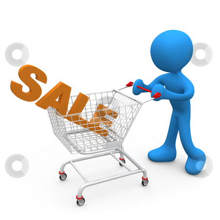 "Shopping on Sales stock photo, Person pushing a shopping cart with the word ""sale"" in it. by Konstantinos Kokkinis"