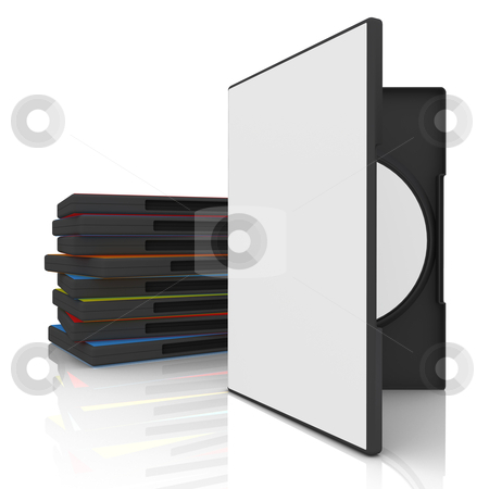 DVD Case stock photo, 3d dvd case with blank cover and label. by Konstantinos Kokkinis