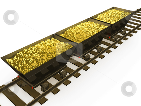Gold stock photo, 3d wagons full with gold coins . by Konstantinos Kokkinis