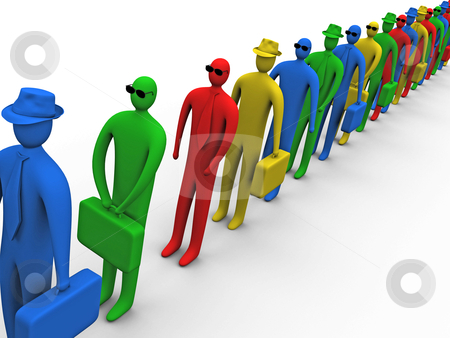 Waiting In Line stock photo, 3d business people waiting in line. by Konstantinos Kokkinis