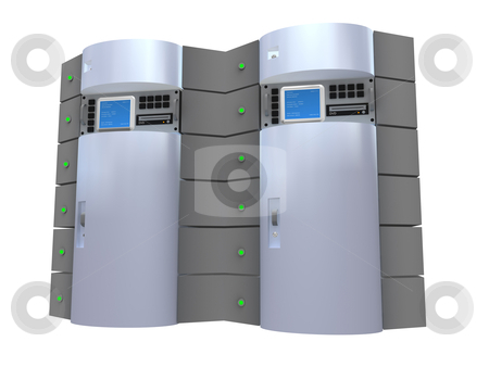 Silver 3D Server stock photo, Computer generated image - Silver 3D Server. by Konstantinos Kokkinis