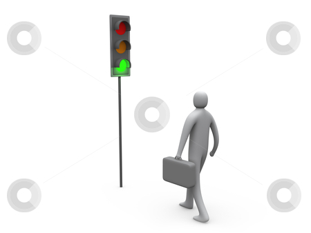 Traffic Light - Business Activity Started stock photo, Computer generated image - Traffic Light - Business Activity Started. by Konstantinos Kokkinis