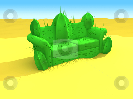 Cactus-Sofa stock photo, Computer generated image - Cactus-Sofa In The Desert. by Konstantinos Kokkinis