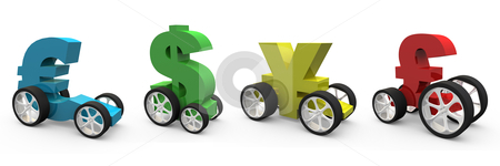 Currency Vehicles stock photo, Computer generated image - Currency Vehicles. by Konstantinos Kokkinis