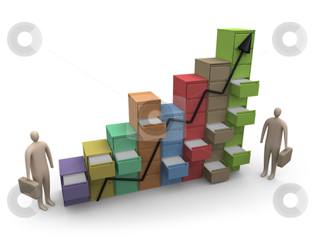 File Statistics stock photo, Computer generated image. File drawers in a row representing a graph. Metaphor of a company's progress. by Konstantinos Kokkinis