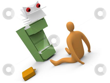 Paperwork Monster stock photo, Computer generated image. Metaphor of office paperwork. by Konstantinos Kokkinis