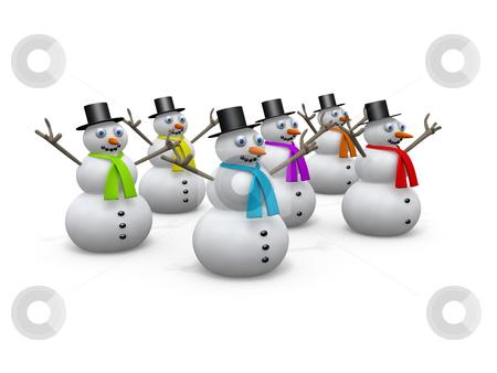Holidays - Snowmen stock photo, Computer generated image. - Holidays - Snowmen. by Konstantinos Kokkinis