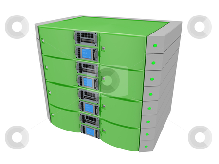 Twin Server - Green stock photo, Computer generated image - Twin Server - Green by Konstantinos Kokkinis