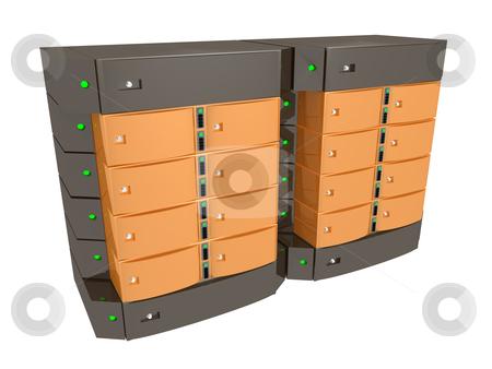 Dual Server stock photo, Computer generated image. Dual Server by Konstantinos Kokkinis