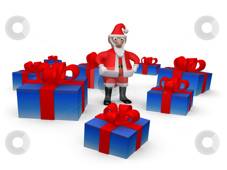 Santa with Presents stock photo, Computer generated image - Santa with Presents. by Konstantinos Kokkinis