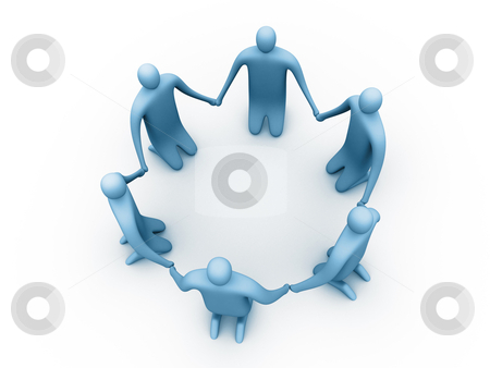 Meditation stock photo, 3d People Sitting In A Circle Holding Hands. by Konstantinos Kokkinis
