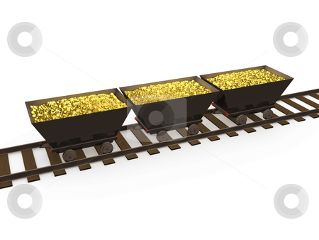 Gold Coins stock photo, 3d wagons full with gold coins . by Konstantinos Kokkinis