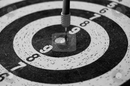 Target background stock photo, Target with dart arrow abstract sports background. Black and white. by sirylok