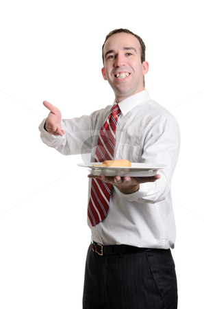 Cheap Lunch stock photo, A server is delivering a single battered wiener on a plate, isolated against a white background. by Richard Nelson