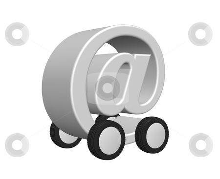Email on wheels stock photo, email symbol on wheels - 3d illustration by J?